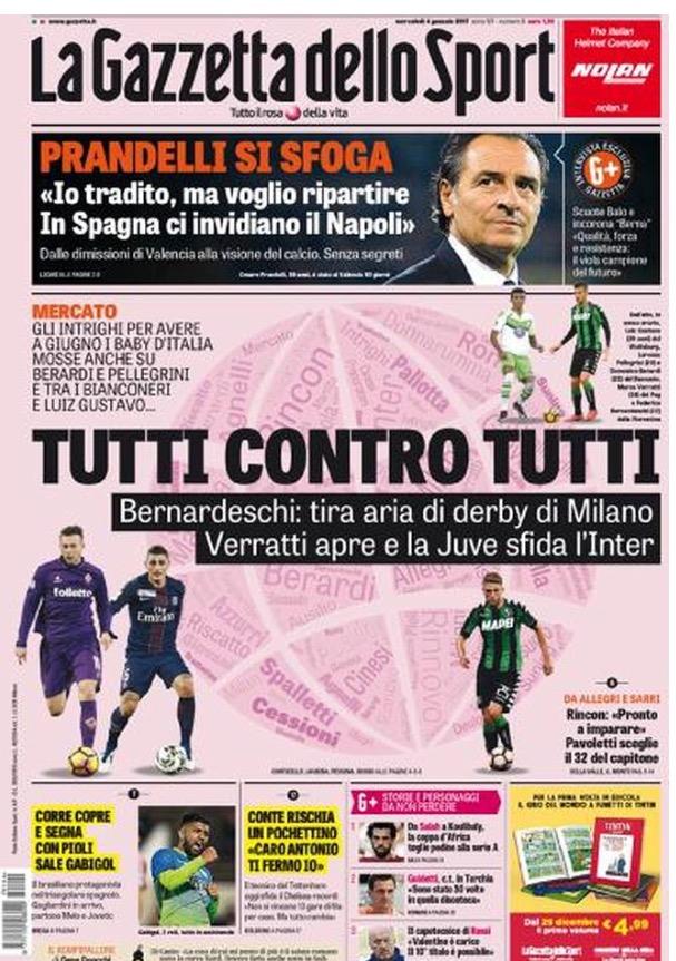 La Gazzetta Dello Sport 04 Gennaio 2017