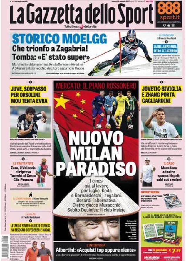 Gazzetta Dello Sport 06 Gennaio 2017