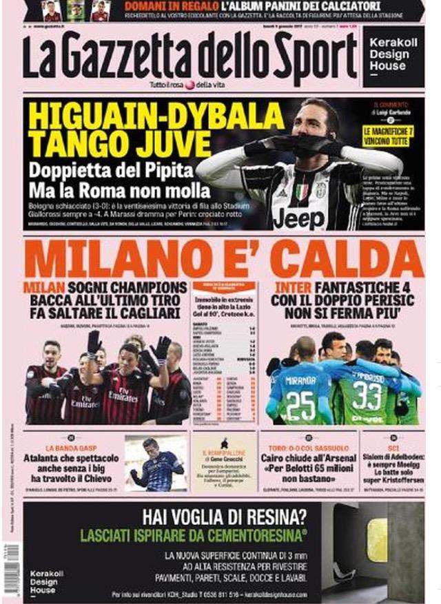 Gazzetta Dello Sport 09 Gennaio 2017