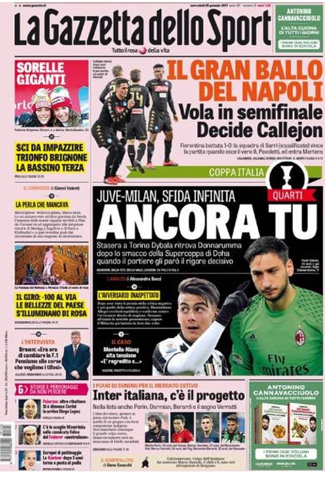Gazzetta Dello Sport 25 Gennaio 2017