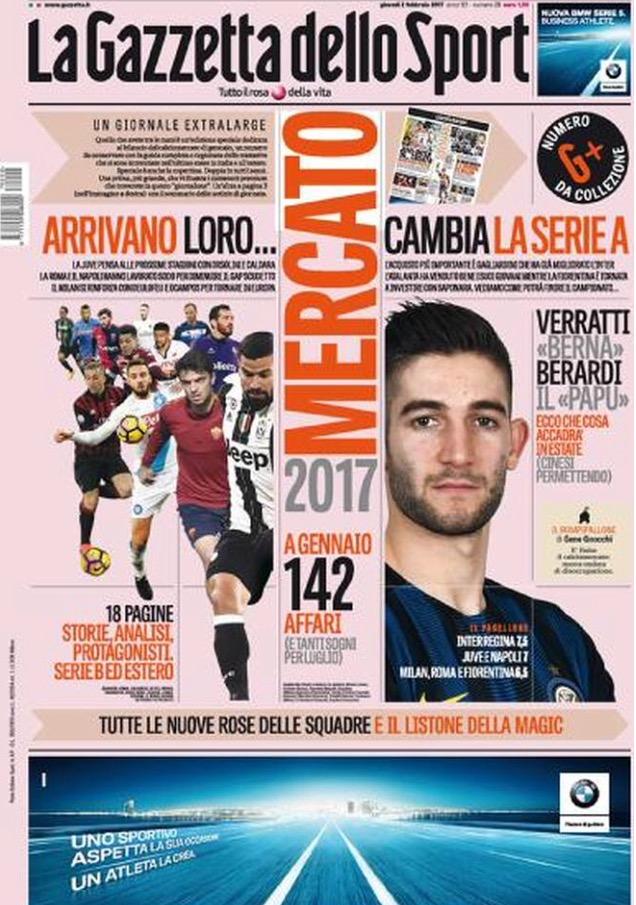 Gazzetta Dello Sport 2 Febbraio 2017