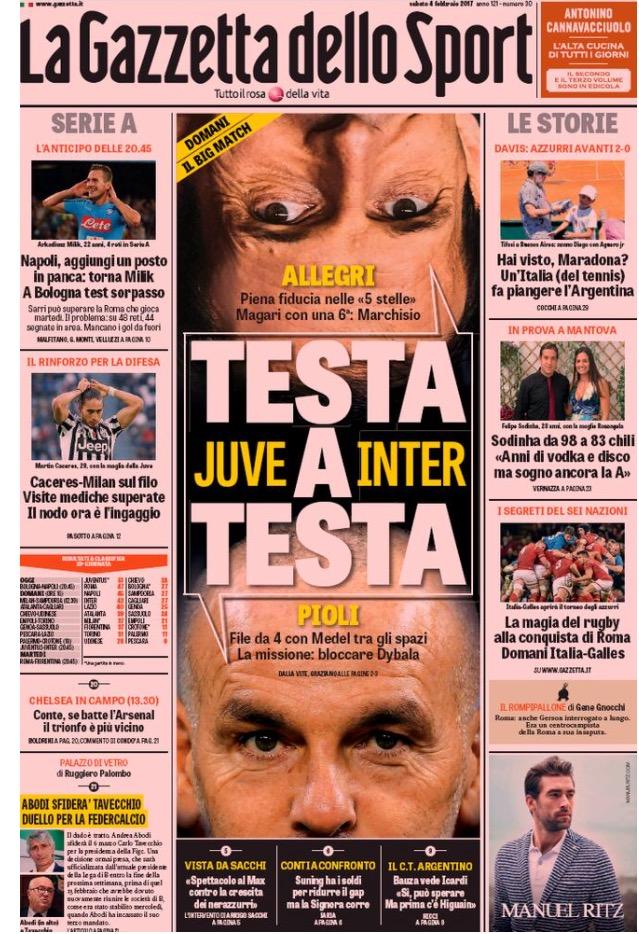 Gazzetta Dello Sport 4 Febbraio 2017