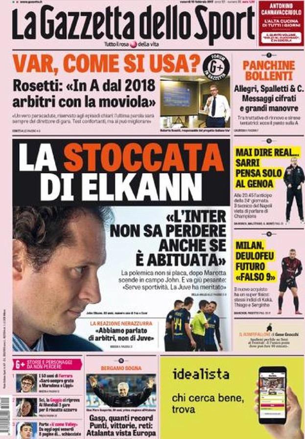 Gazzetta Dello Sport 10 Febbraio 2017