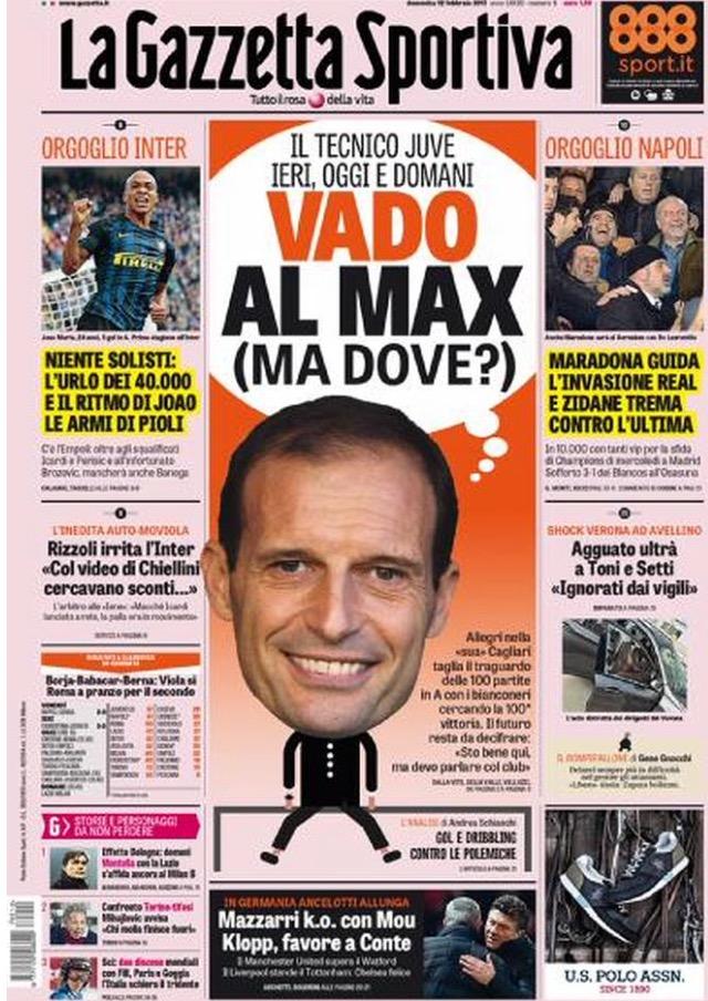 Gazzetta Dello Sport 12 Febbraio 2017