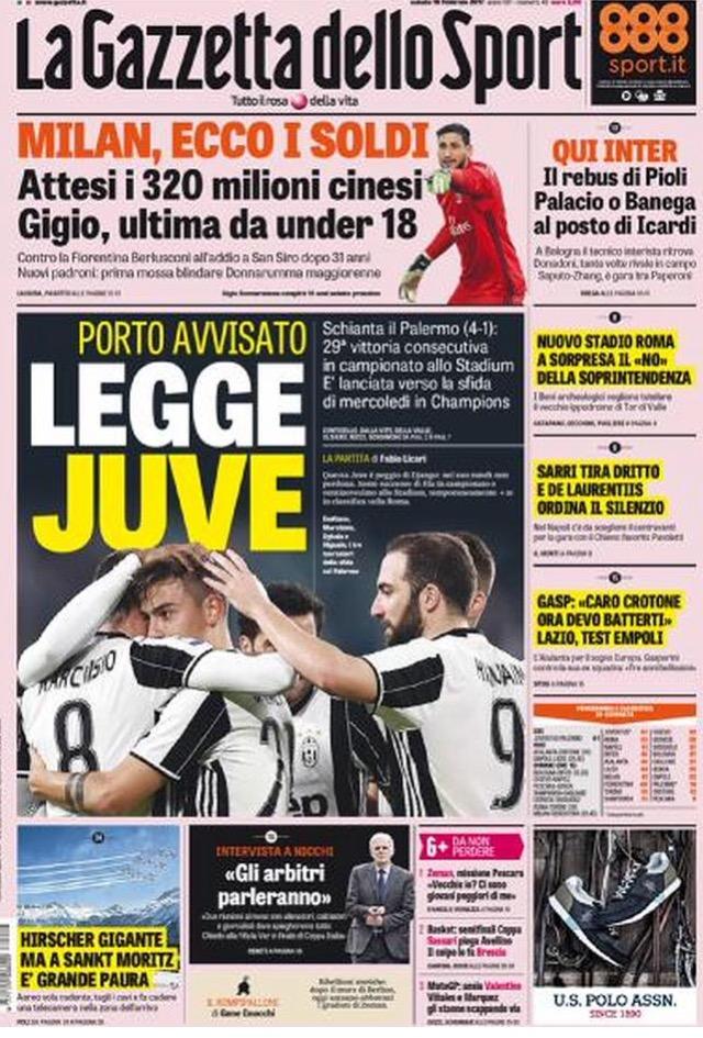Gazzetta Dello Sport 18 Febbraio 2017