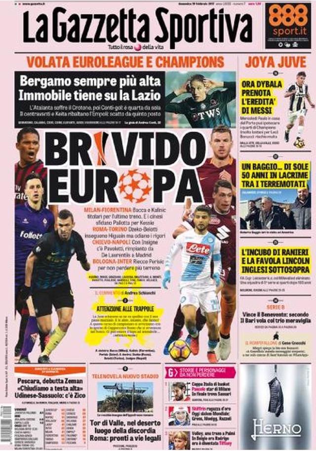 Gazzetta Dello Sport 19 Febbraio 2017