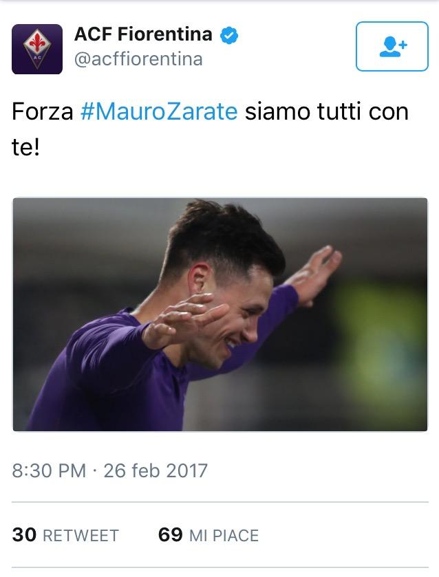 Il Tweet della Fiorentina per Mauro Zarate