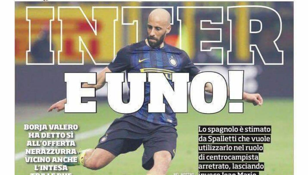 Il Corriere dello Sport annuncia Borja Valero all'Inter, in settimana l'annuncio. C'è il si dello spagnolo