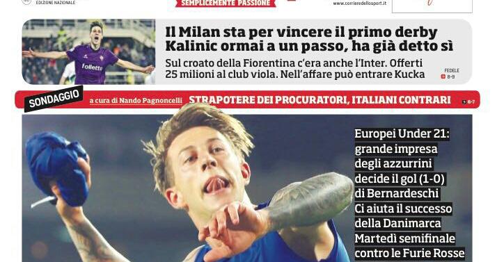 Corriere dello Sport , Nikola Kalinic ha accettato il Milan, alla Fiorentina 25 milioni