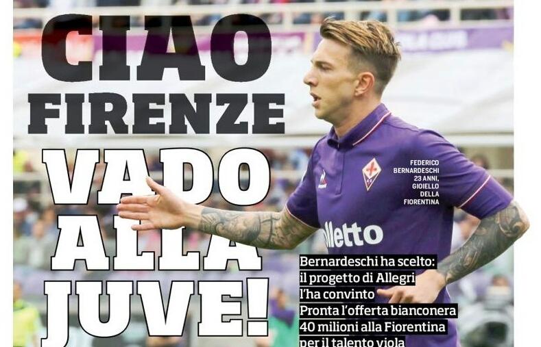 """""""Ciao Firenze vado alla Juventus"""" il Corriere dello Sport annuncia la scelta di Bernardeschi di giocare in bianconero"""