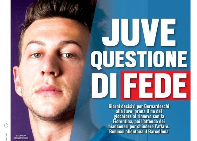 """Prima pagina di TuttoSport: """"Juve questione di Fede"""" riferimento ed aggiornamento sulla trattativa Bernardeschi"""