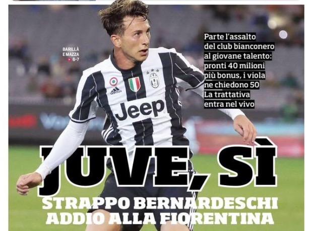 """Prima pagina CdS: """"Juve si, strappo Bernardeschi, addio alla Fiorentina la trattativa entra nel vivo"""""""