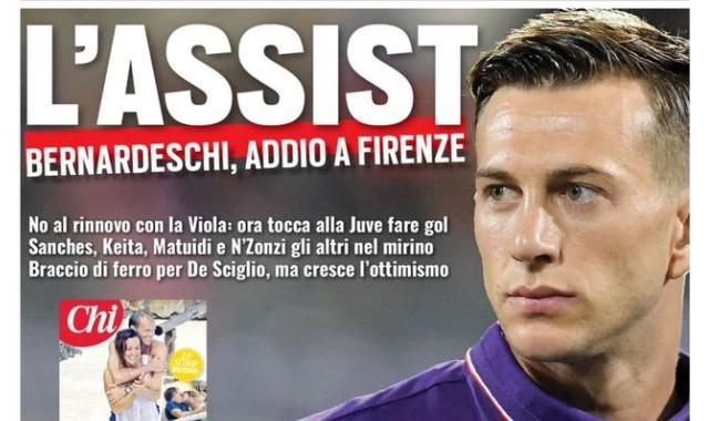 """TuttoSport titola in prima pagina: """"L'assist, Bernardeschi addio a Firenze"""""""