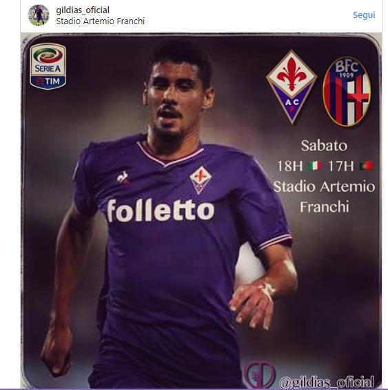 Gil Dias si carica su Instagram in vista di Fiorentina-Bologna