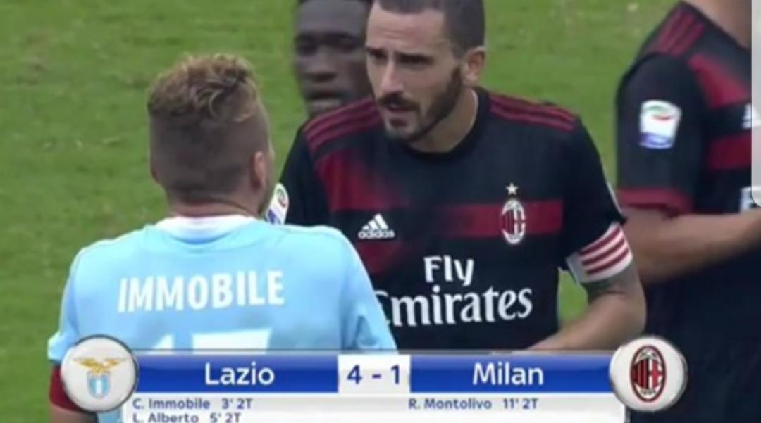 Milan, alta tensione Bonucci: brutto gesto con Immobile