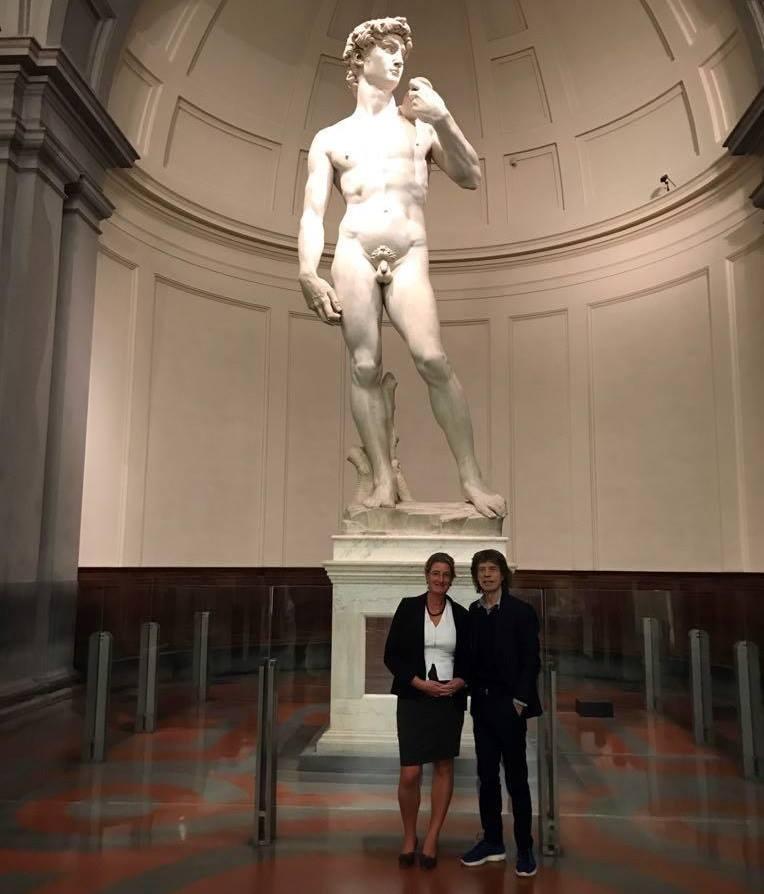 Mick Jagger a sorpresa alla Galleria dell'Accademia