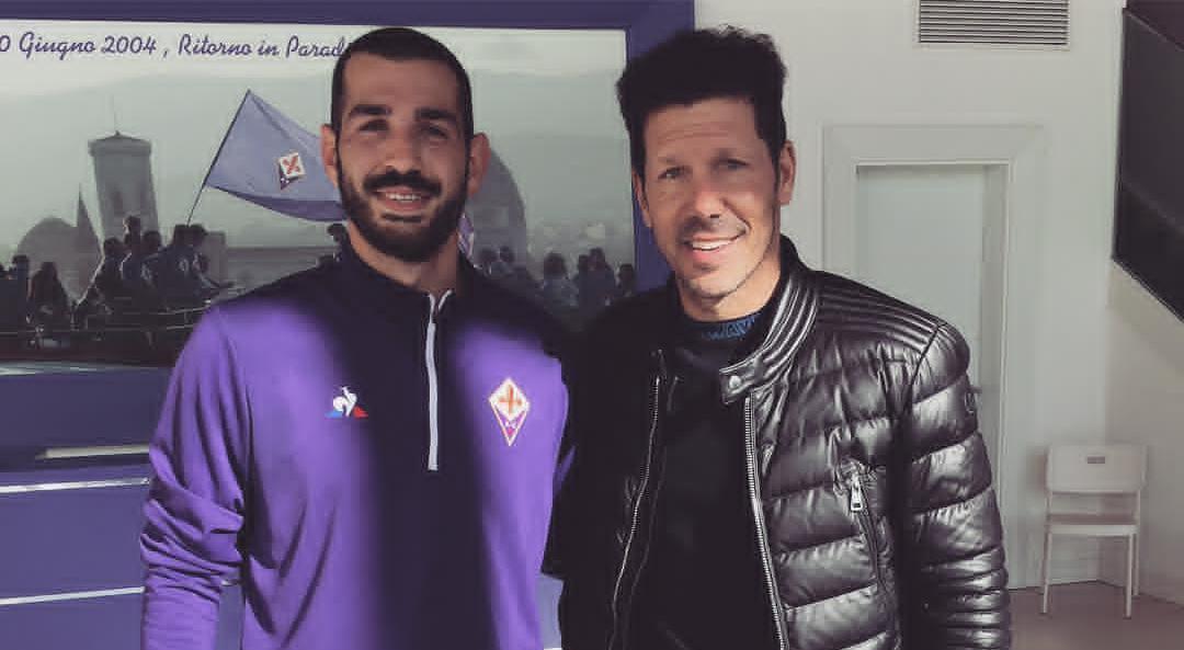 Simeone, allenatore dell'Atletico Madrid e papà di Giovanni, in visita al centro sportivo della Fiorentina