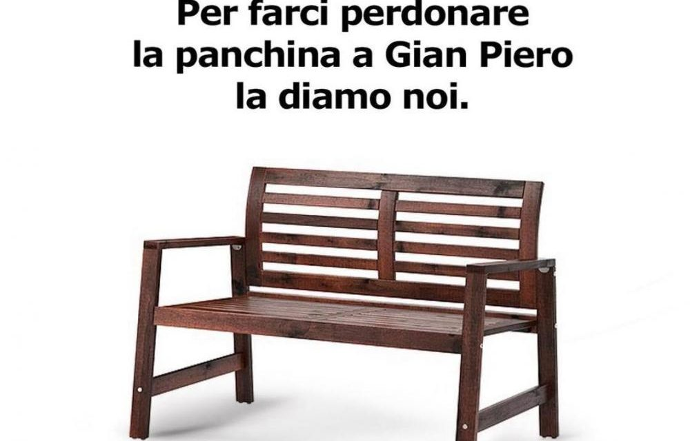 """Arriva anche lo sfottò Ikea: """"Per farci perdonare la panchina a GianPiero la portiamo noi, ma ridateci le matite"""""""