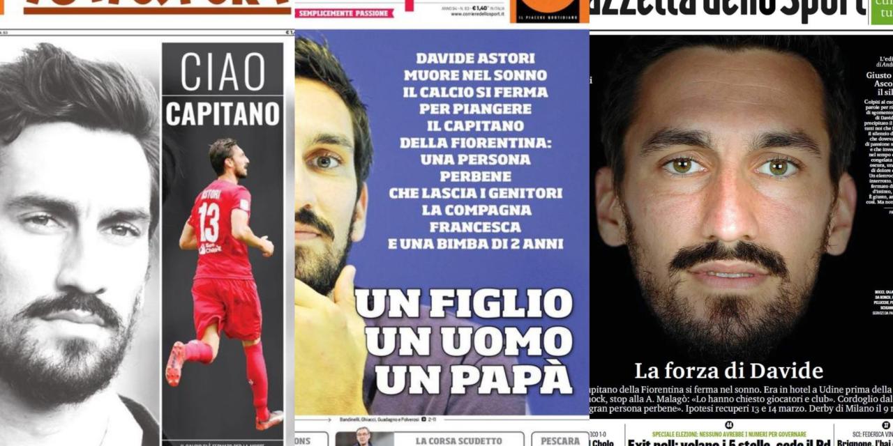 Così la stampa sportiva omaggia Davide Astori. Le prime pagine dei quotidiani italiani