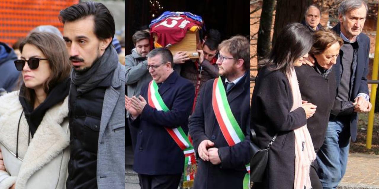 FOTO, l'ultimo saluto per Astori a San Pellegrino. Francesca sostenuta dal fratello