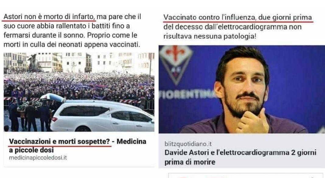 """Gli sciacalli del partito """"No Vaccini"""" hanno usato Astori come propaganda. Ma la notizia è speculazione"""