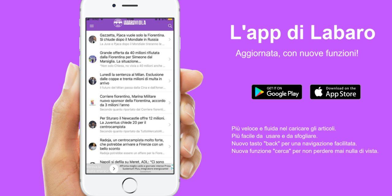 L'app di Labaroviola si è aggiornata! Ecco la nuova versione per Apple e Android, scaricala subito