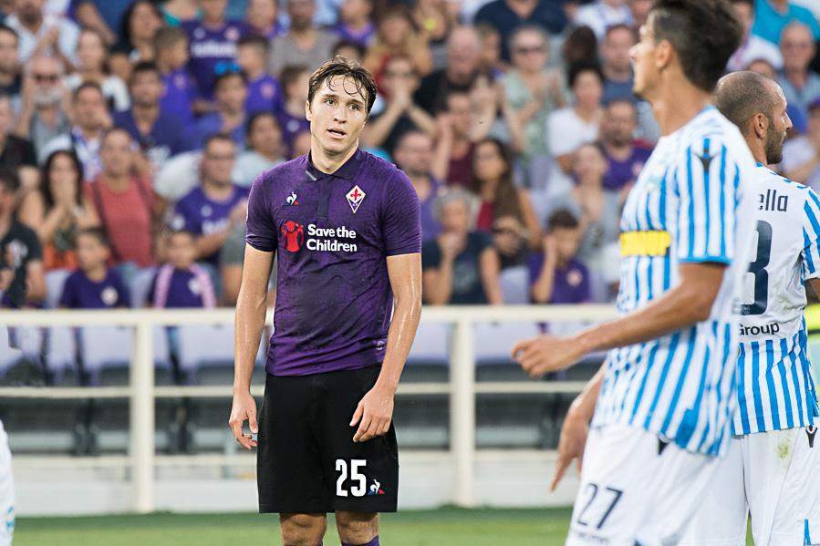 Pareggio della Fiorentina dopo 8′ minuti! Su tiro di Chiesa devia Skriniar