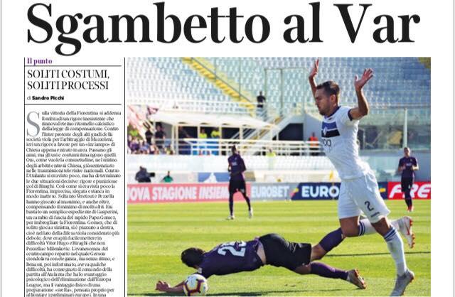Il Corriere Fiorentino ironizza: sgambetto al VAR