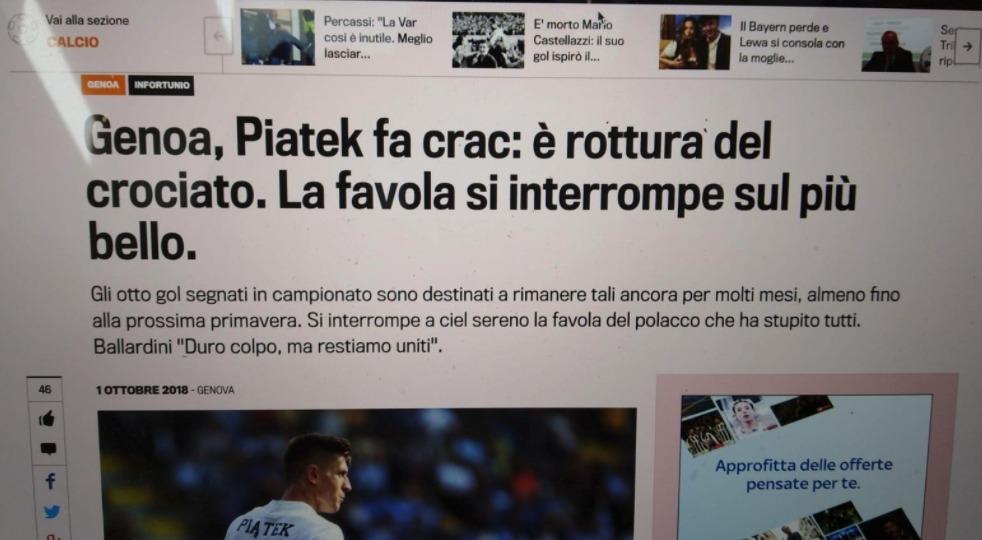 Piatek infortunato al crociato? No, è solo una fake news, panico tra fantallenatori e tifosi del Genoa