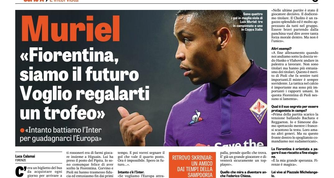 """""""Voglio regalare Coppa Italia e quarto posto alla Fiorentina. Firenze è magica. Chiesa più forte di Cuadrado"""""""