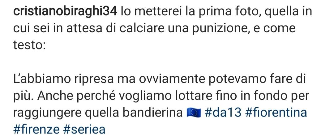 Gaffe di Biraghi su Instagram, posta e copia il messaggio di una terza persona come didascalia