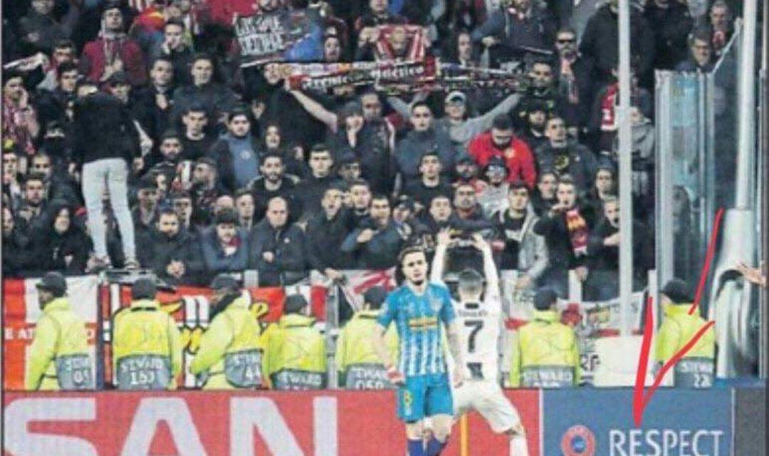 Cristiano Ronaldo e il gestaccio ai tifosi dell'Atletico Madrid. Ora rischia giustamente la squalifica