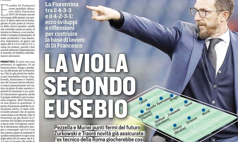 Ecco la nuova Fiorentina di Di Francesco secondo il Corriere dello Sport. Celik terzino destro, Zurkowski regista, Muriel centravanti