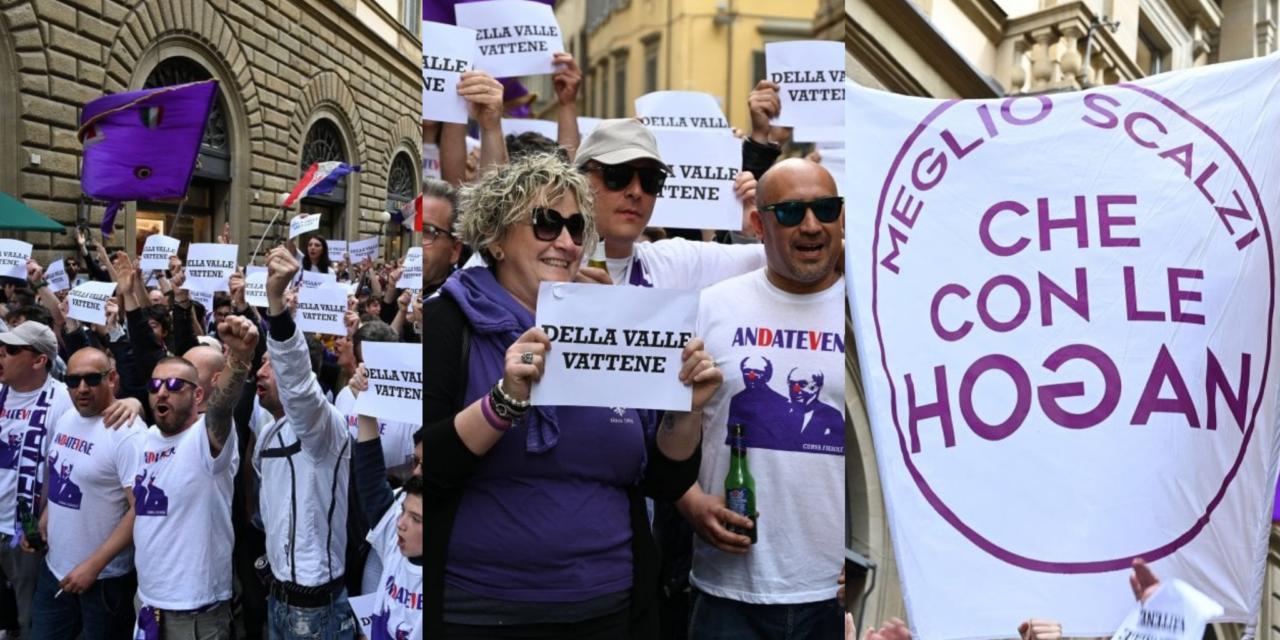 Piu di mille tifosi viola al Flash Mob contro i Della Valle in via Tornabuoni. Le immagini e il racconto
