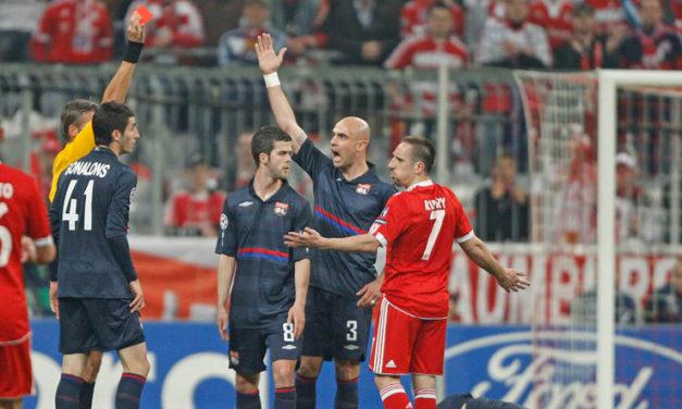 Nelle sue dodici stagioni nel Bayern Monaco, Franck Ribery è stato espulso cinque volte…